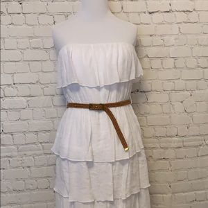 by & by Dresses - White Strapless Ruffled Dress